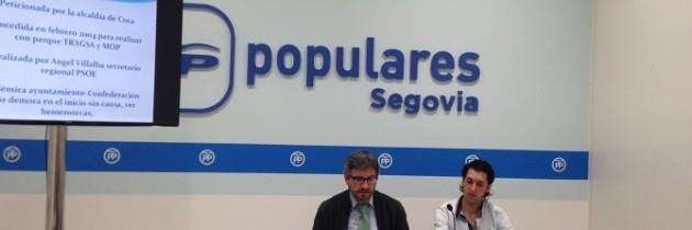 Juan Carlos Álvarez junto al Portavoz del PP en el Ayuntamiento de Coca, han explicado las verdaderas razones del derrumbe de las laderas en esta localidad